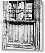 old weathered green painted wooden window frame of abandoned house with cracked stucco walls in Tacoronte Tenerife Canary Islands Spain Metal Print