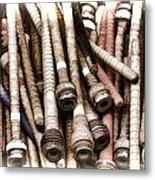 Old Weaving Spools Metal Print
