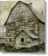 Old White Barn Metal Print