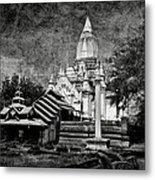 Old Whitewashed Lemyethna Temple Bw Metal Print