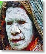 Old Woman In Traditional Shawl Metal Print