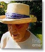 Old Woman Wearing Straw Hat Metal Print