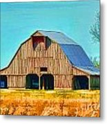 Old Wood Barn  Digital Paint Metal Print
