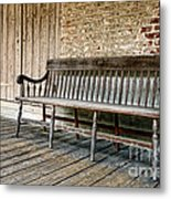 Old Wood Bench Metal Print by Olivier Le Queinec