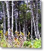 Old Wood Stand Painterly Style Metal Print