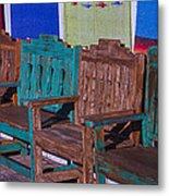 Old Wooden Benches Metal Print by Garry Gay