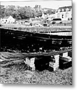 Old Wooden Fishing Boat In Portpatrick Harbour Scotland Uk Metal Print