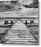 Old Wooden Jetty During Storm On The Sea Metal Print