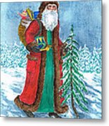 Old World Father Christmas4 Metal Print by Barbel Amos