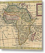 Old World Map Of Africa Metal Print