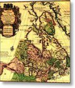 Old World Map Of Canada Metal Print