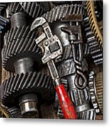 Old Wrenches On Gears Metal Print