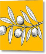 Olive Branch Engraving Style Vector Metal Print
