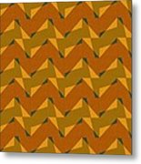 Olive Green And Orange Chevron Collage Metal Print