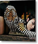 Olivia Wild And The Tiger Metal Print