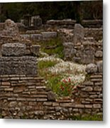 Olympia Ruins And Wild Flowers   #9684 Metal Print