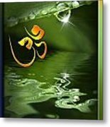 Om On Green With Dew Drop Metal Print