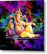 Om Shanti Ganesh Metal Print