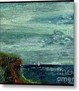 On A Bluff Over The Sea Looking At Sailboats Metal Print by Cathy Peterson