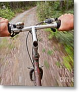 On My Mountain Bike Metal Print