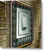 On Off Switch On Circuits Metal Print