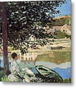 On The Bank Of The Seine Metal Print by Claude Monet