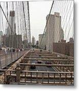 On The Brooklyn Bridge Metal Print