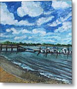 On The Dock In Great Harbors Metal Print