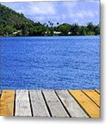 on the dock in Tahiti Metal Print