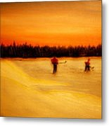 On The Pond With Dad Metal Print by Desmond Raymond