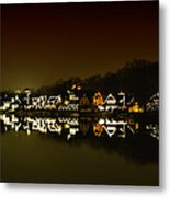 On The River At Night -  Boathouse Row Metal Print