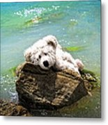 On The Rocks - Teddy Bear Art By William Patrick And Sharon Cummings Metal Print