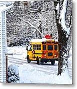 On The Way To School In Winter Metal Print