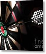 One Arrow In The Centre Of A Dart Board Metal Print