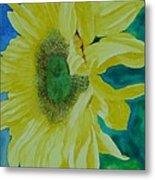 One Bright Sunflower Colorful Original Art Floral Flowers Artist K. Joann Russell Decor Art  Metal Print