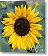 One Bright Sunflower - Digital Art Metal Print