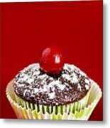 One Chocolate Cupcake With Cherry Over Red Metal Print