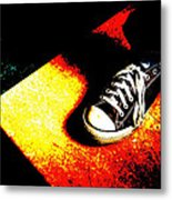 One Converse In A Ray Of Sun Metal Print