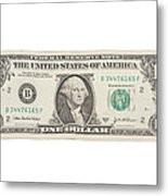 One Dollar Bill On White Background Metal Print