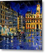 One Evening In Terreaux Square Lyon Metal Print