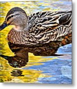 One Leaf Two Ducks Metal Print by Frozen in Time Fine Art Photography
