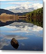 One Mile Lake One Rock Reflection Pemberton B.c Canada Metal Print
