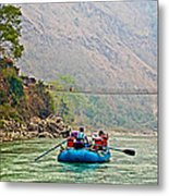 One Of Many Suspension Bridges Crossing The Seti River In Nepal Metal Print