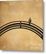 One Pigeon Perched On A Metallic Arch. Metal Print