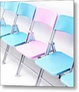 One Pink Chair In A Row Of Blue Chairs Metal Print
