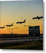 One Plane Landing At O'hare Metal Print