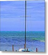 One Red Boat Metal Print