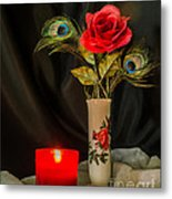 One Red Christmas Rose Metal Print