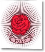 One Red Rose With Thorns On White Metal Print
