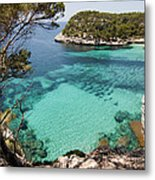 One Step To Paradise - Cala Mitjana Beach In Menorca Is A Turquoise A Cristaline Water Paradise Metal Print